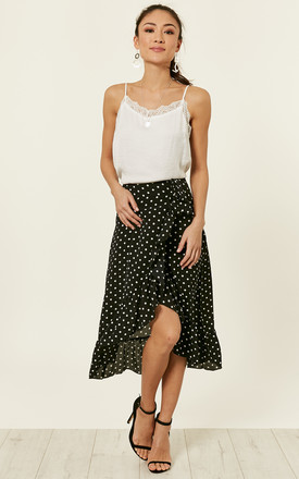 Black Ruffle Wrap Skirt With White Dots by Bella and Blue Product photo