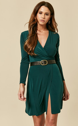 Forest Green Mini Wrap Dress With Tie by John Zack Product photo