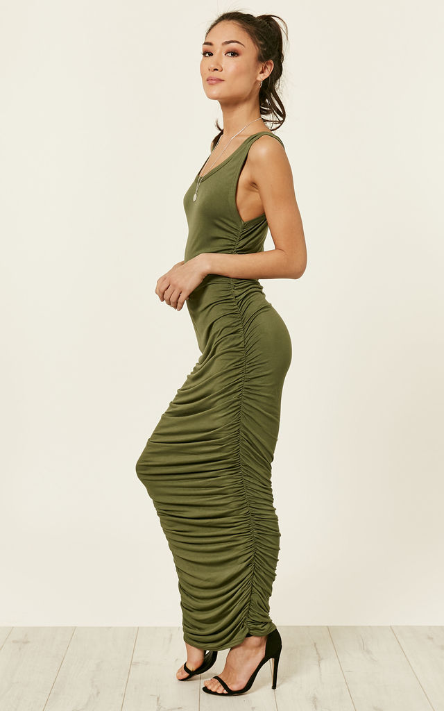 KHAKI SLEEVELESS MAXI DRESS WITH RUCHED SIDES by Lilah Rose