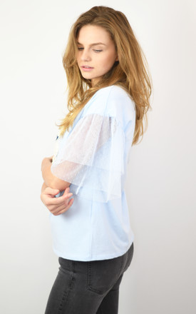BLUE TOP WITH MESH SLEEVES AND FRONT BALLERINA DECORATION by Lucy Sparks