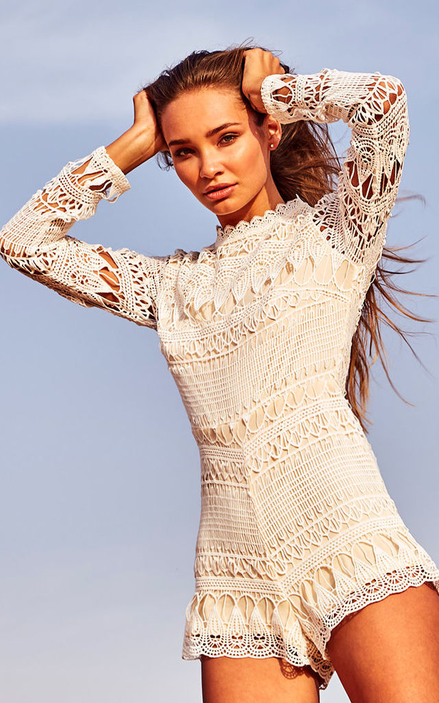 White Long Sleeve Crochet Playsuit by Candypants