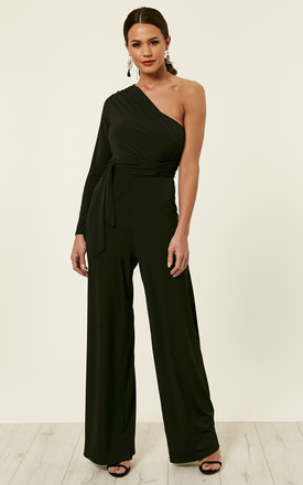 Black One Shoulder Asymmetric Jumpsuit by John Zack Product photo