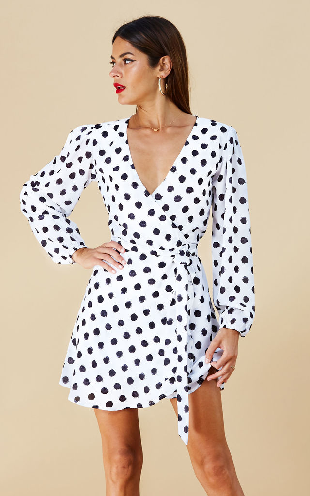ZYLER DRESS IN WHITE DOT image