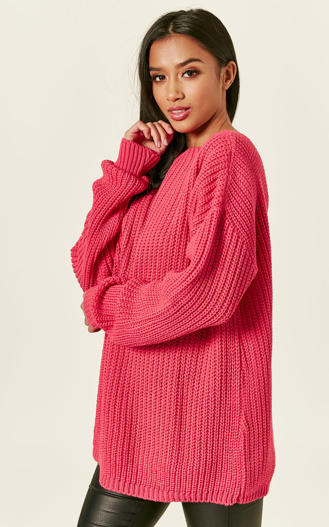 Coral Oversized Backless Jumper by Glamorous