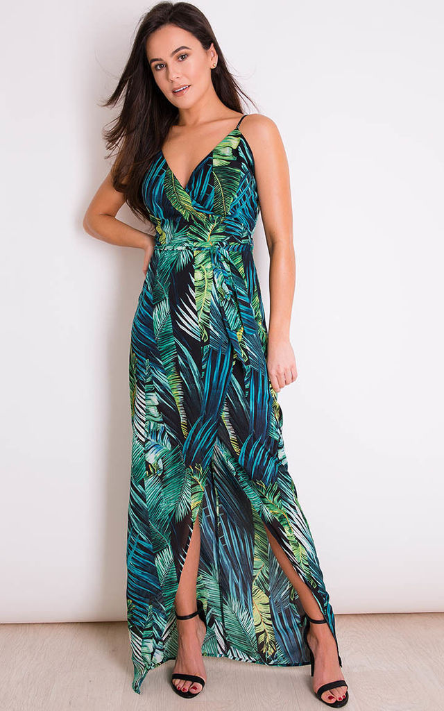 Mia Wrap Maxi Dress Tropical Print by Girl In Mind