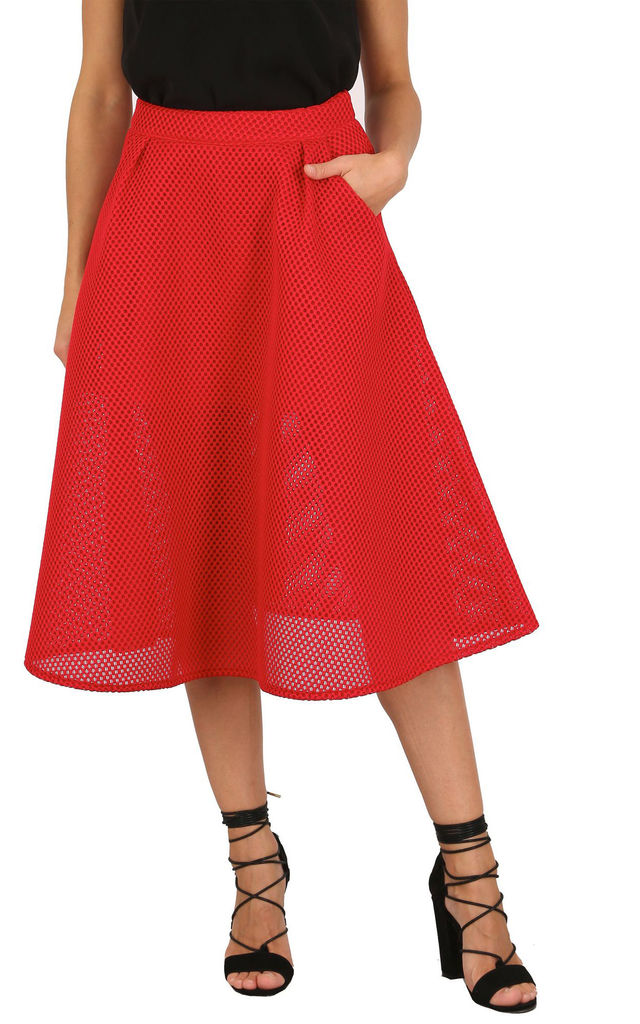 Red Mesh A-line Midi Skirt by Cutie London