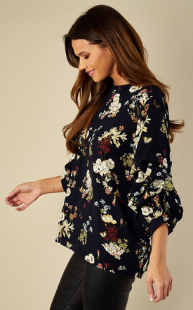 NAVY FLORAL RUCHED SLEEVED TOP by AX Paris