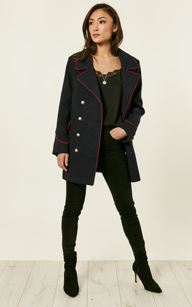 Navy Double Breasted Jacket by Glamorous