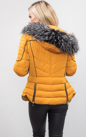 Quilted Faux Fur Hooded Padded Puffer Coat Mustard Yellow by LILY LULU FASHION