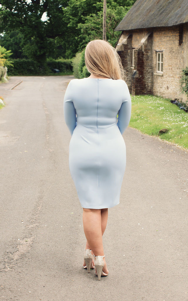 Powder Blue Midi Dress by Miss Pandora