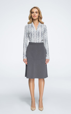 Grey midi trapeze skirt by MOE