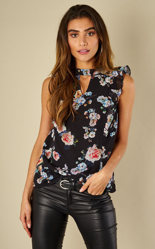 Belle Cut Out Print Top in Black by ANGELEYE
