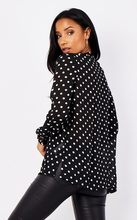 Bev Polka Dot Long Sleeve Blouse In Black by ANGELEYE
