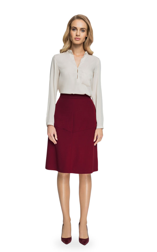 Maroon midi trapeze skirt by MOE