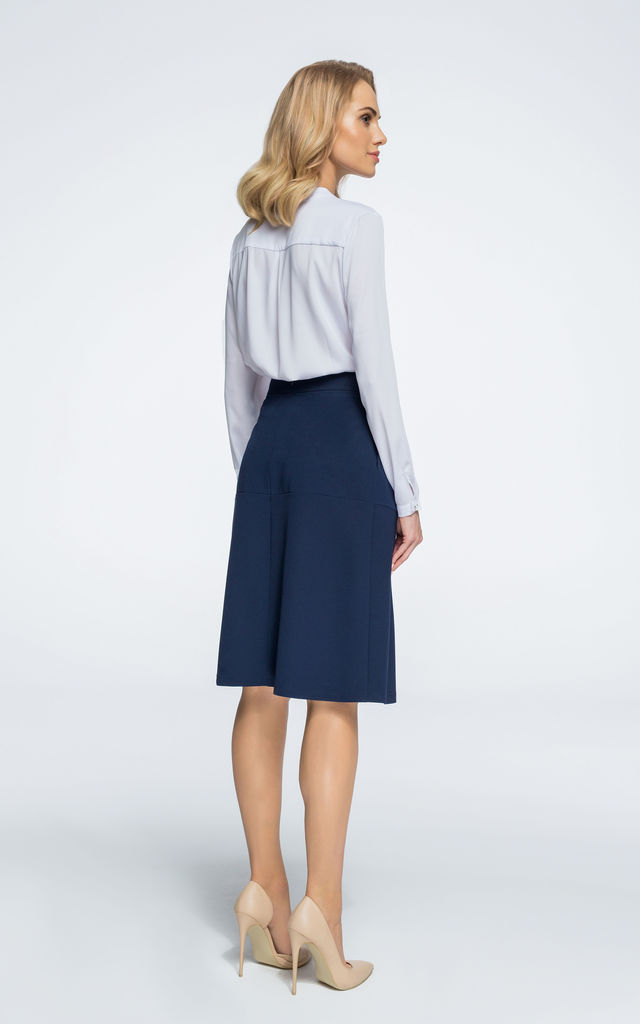 Navy blue midi trapeze skirt by MOE