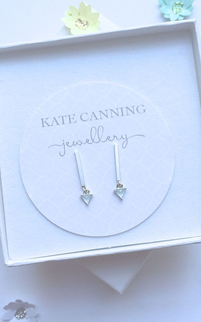 Mint Green Bar Earrings by Kate Canning Jewellery