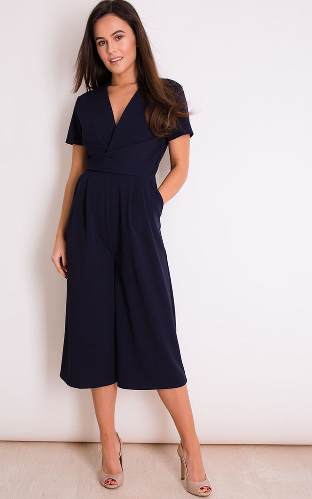 c30124280691 Megan Short Sleeve Culotte Jumpsuit Navy by Girl In Mind