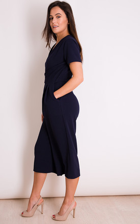 Megan Short Sleeve Culotte Jumpsuit Navy by Girl In Mind