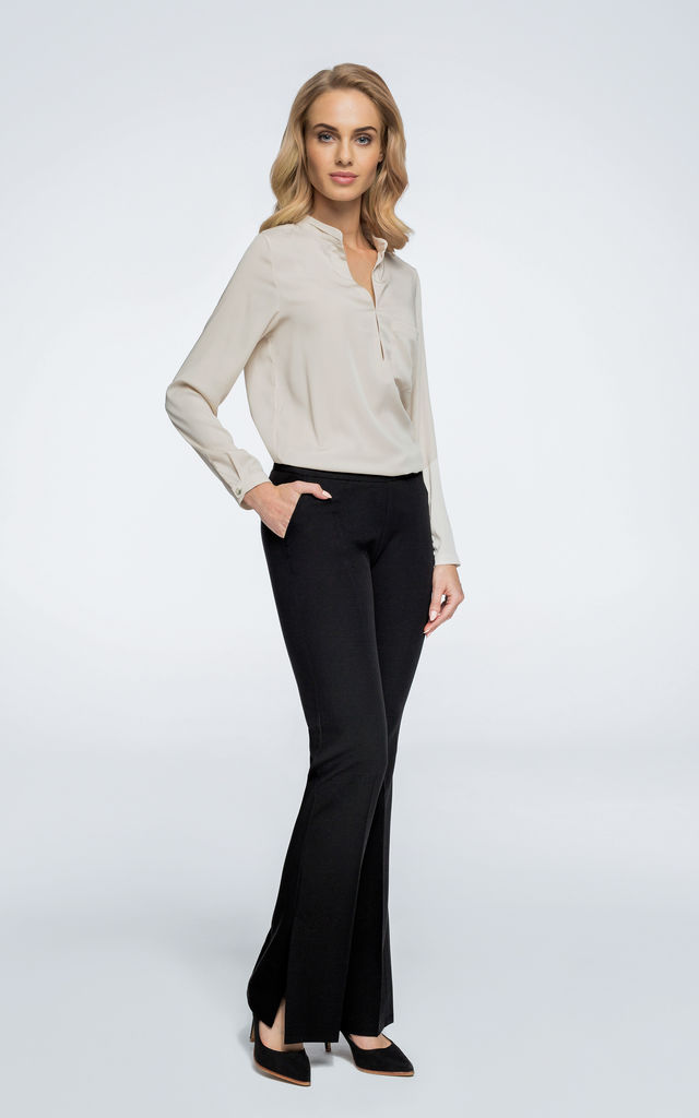 Black wide leg trousers with splits at both sides by MOE