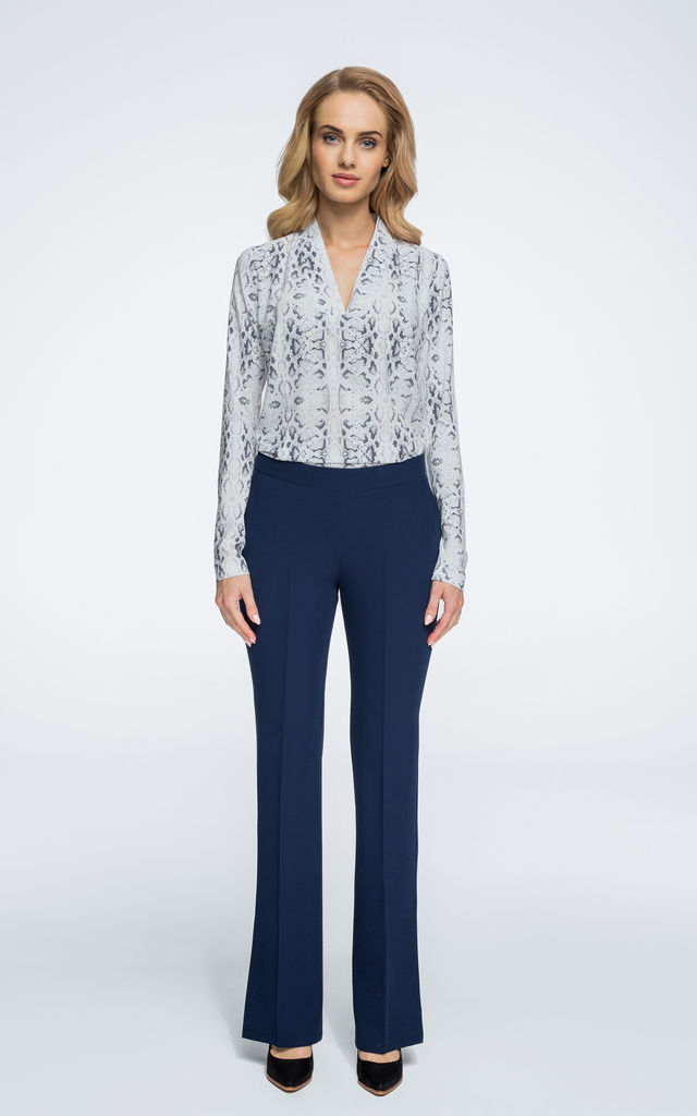Navy blue wide leg trousers with splits at both sides by MOE