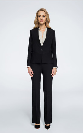 Black slightly tailored with one-button blazer by MOE
