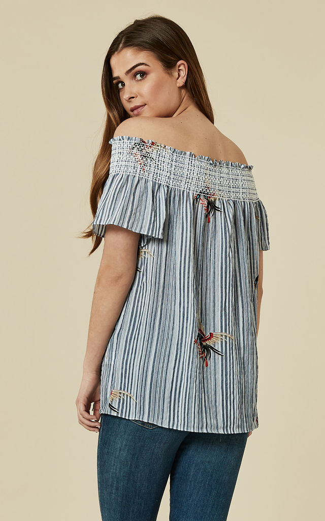 Maya Bay Off the Shoulder Stripe Blouse in Blue by Once Upon a Time