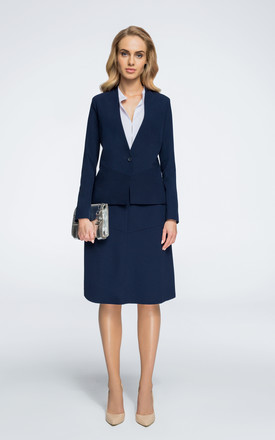 Navy blue slightly tailored with one-button blazer by MOE
