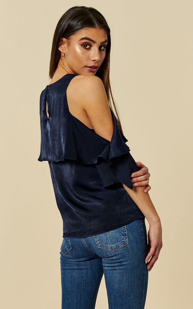 Satin Seas Cold Shoulder Blouse in Navy by Once Upon a Time