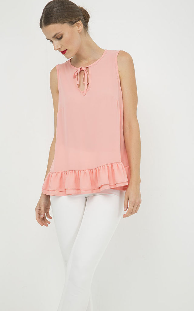 Peach Double Frill Detail Top by Conquista Fashion