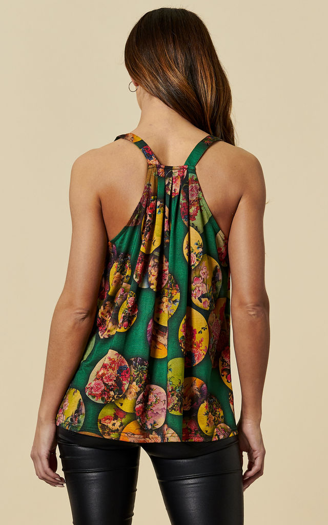 Mikasa Floral Racer Back Spaghetti Strap Camisole in Green by Once Upon a Time