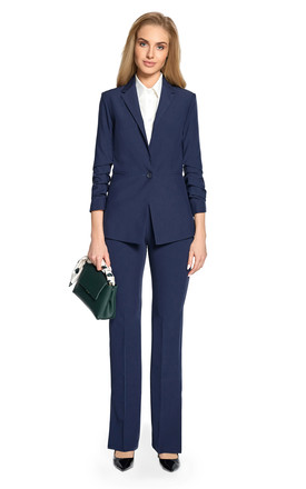 Navy blue classic elegance  tailored with  one button blazer by MOE