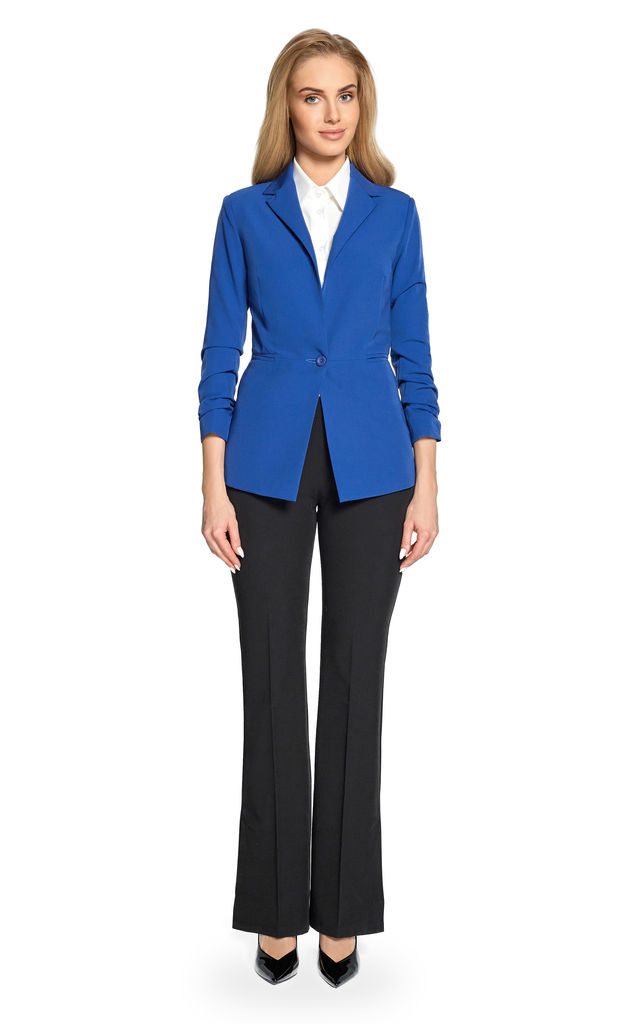 Royal blue classic elegance  tailored with  one button blazer by MOE
