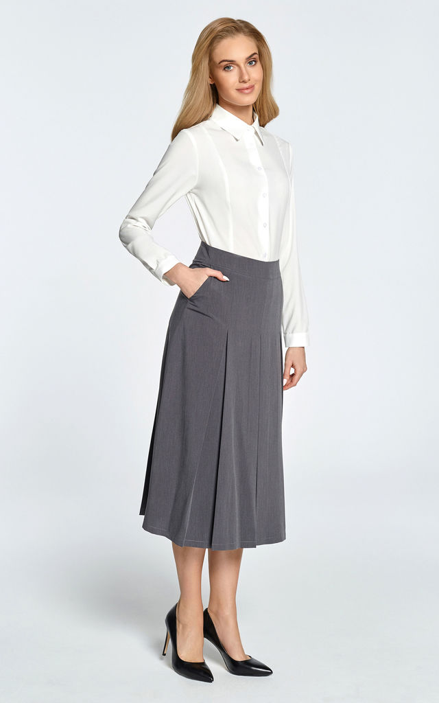 Midi Skirt with Box Pleats in Grey by MOE