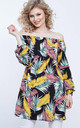 SANDRA – Bardot Tropical Printed Black Tunic by Blue Vanilla