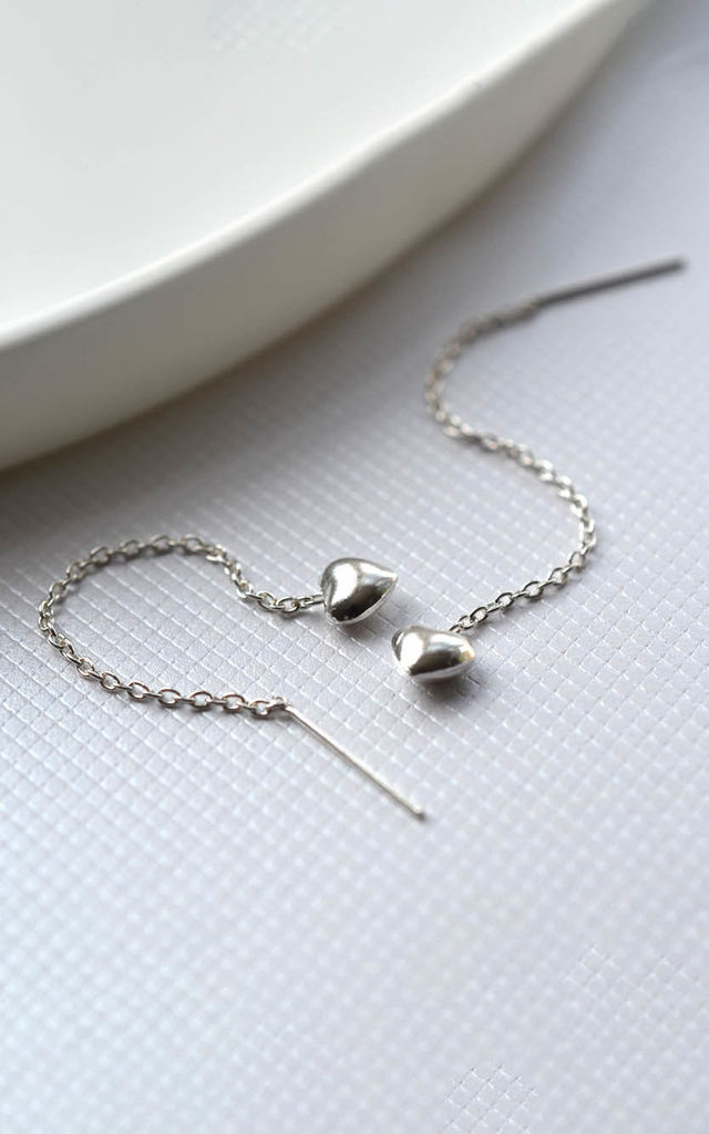 Sterling Silver Heart Pull Through Chain Earrings by Martha Jackson Jewellery