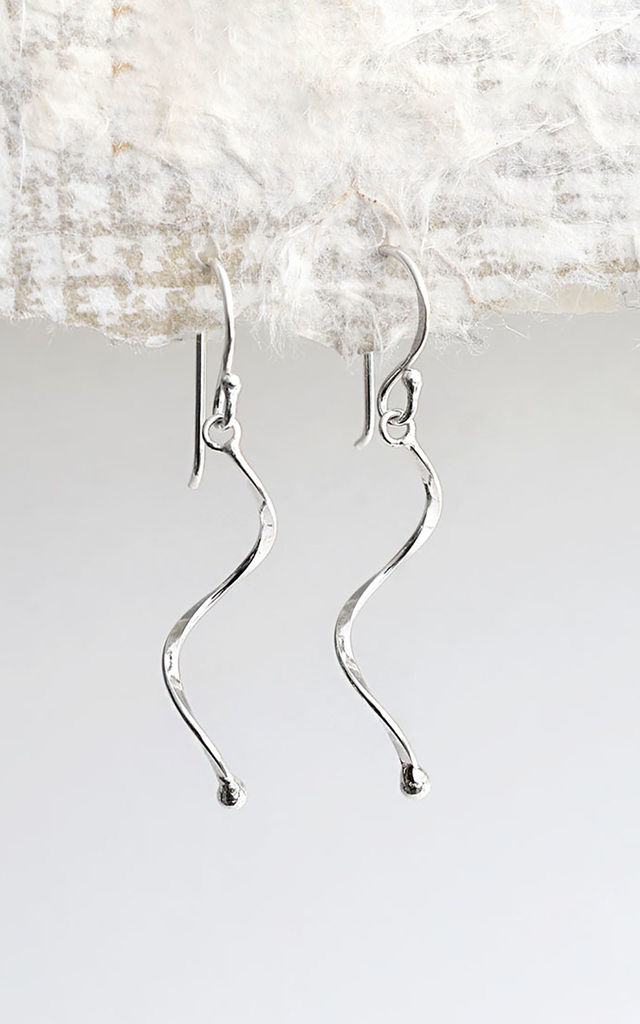 Sterling Silver Simple Wave Earrings by Martha Jackson Jewellery