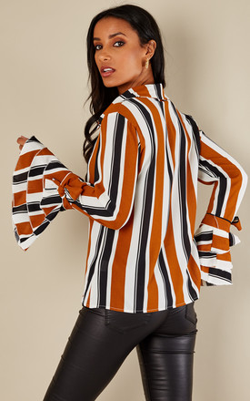 Mustard Striped Ruffle Sleeve Shirt by Oeuvre