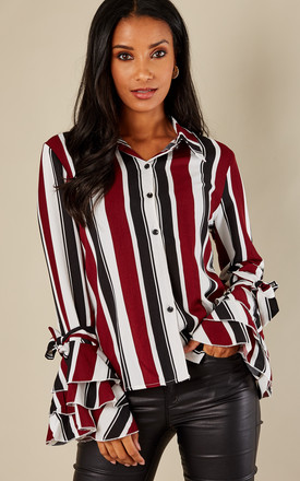 Red Striped Ruffle Sleeve Shirt by Oeuvre Product photo