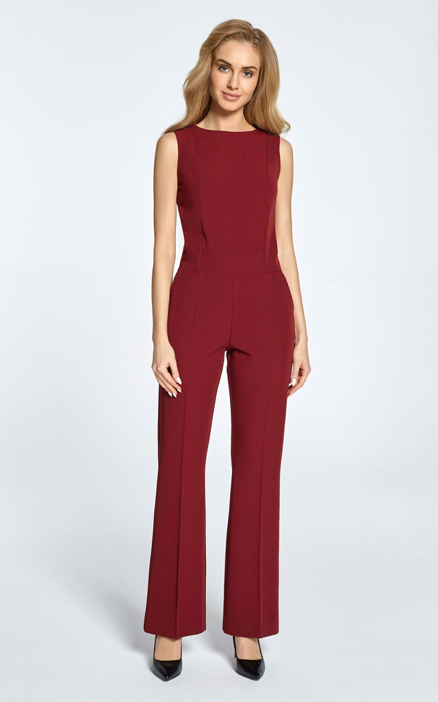 Maroon sleeveless jumpsuit designed with clean lines by MOE