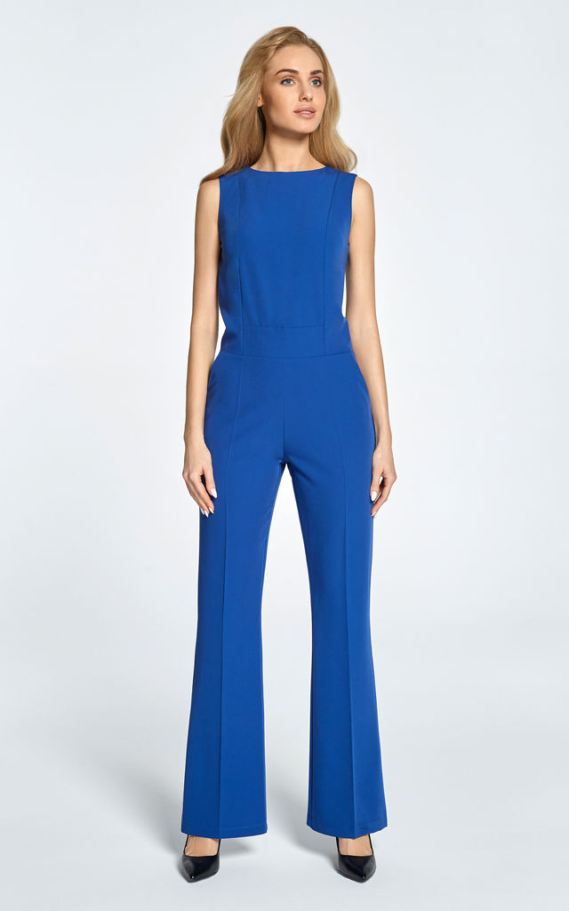 Royal blue sleeveless jumpsuit designed with clean lines by MOE