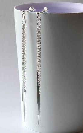 Sterling Silver Cascading Chains Earrings by Martha Jackson Jewellery