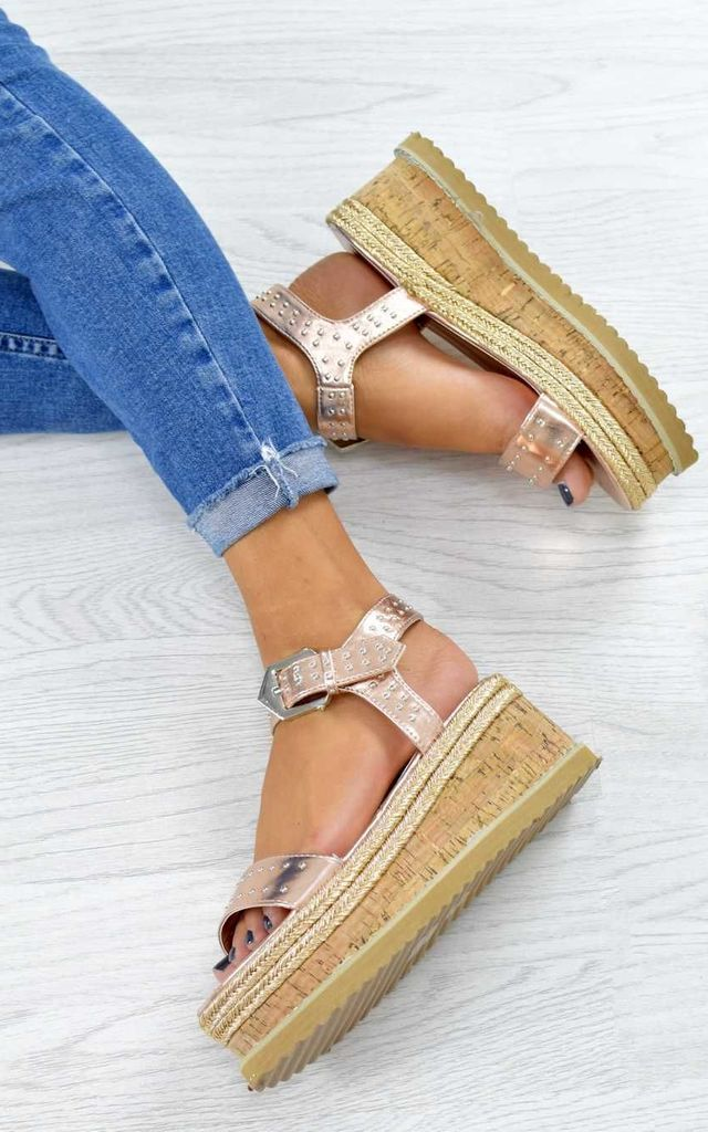 9875cf5ad05 Studded Espadrille Wedge Sandals Rose Gold By AJ | VOYAGE