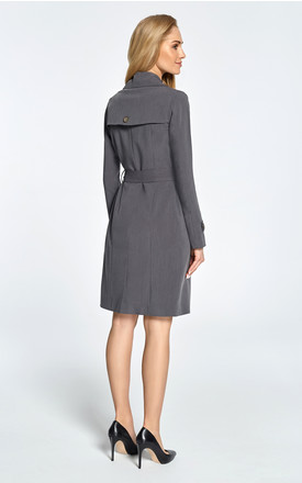 Grey classic single-breasted trench coat with belted cuffs by MOE