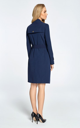 Navy blue classic single-breasted trench coat with belted cuffs by MOE