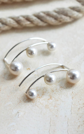 Sterling Silver Three Pearl Ear Climbers by Martha Jackson Jewellery Product photo