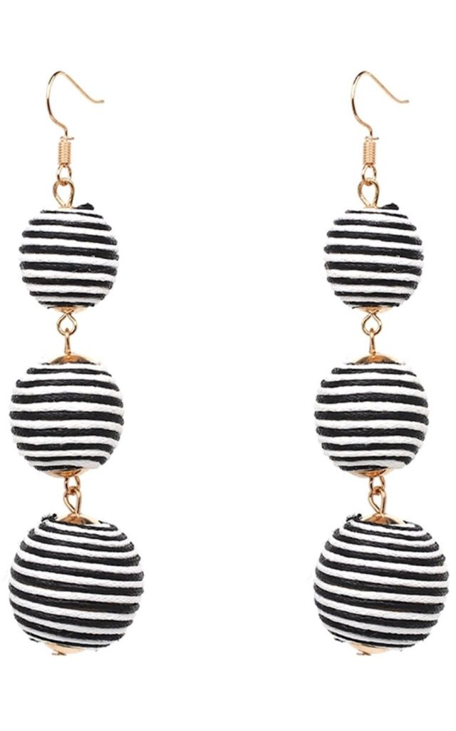 Monotone black and white stripe ball earrings by Lovelock jewels