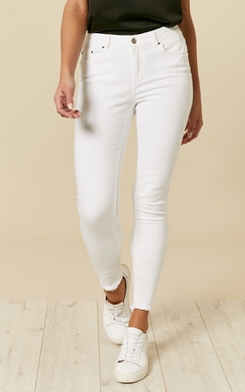 Bright White Mid Waist Skinny Jeans by Pieces