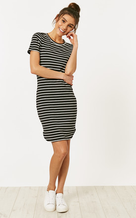 Black And White Short Sleeve Stripe Dress by Noisy May Product photo