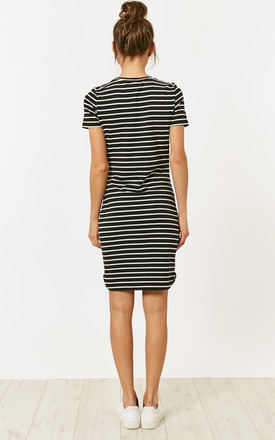 Black And White Short Sleeve Stripe Dress by Noisy May