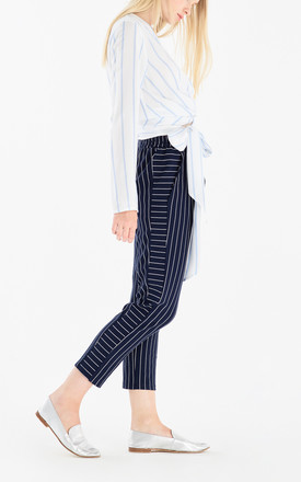 Striped Blouse with Wrap Tie Waist by Paisie